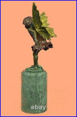 Signed Milo Butterfly Angel Bronze Sculpture Statue Hand Made Marble Decorative