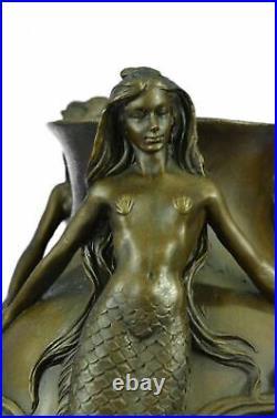 Signed Original MiloSexy Mermaids Bronze Vase Statue Made by Lost Wax Decor NR