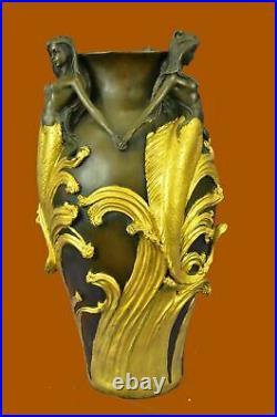 Signed Original MiloSexy Mermaids Bronze Vase Statue Made by Lost Wax Figure