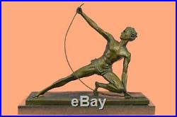 Signed Powerful Man With Bow Statue Figurine Bronze Sculpture Figure Hand Made