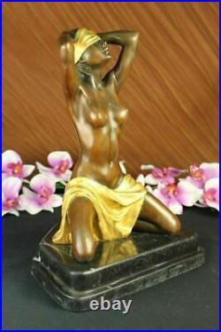 Signed Preiss Art Nouveau Deco Gilt Hand Made Bronze Sculpture Statue Figure NR