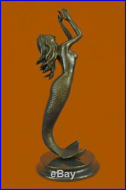 Signed Roche Mermaid Statue Figurine Bronze Sculpture Figure Hand Made Figurine