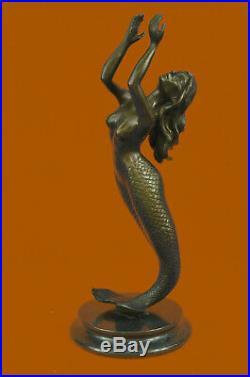 Signed Roche Mermaid Statue Figurine Bronze Sculpture Figure Hand Made Sculpture