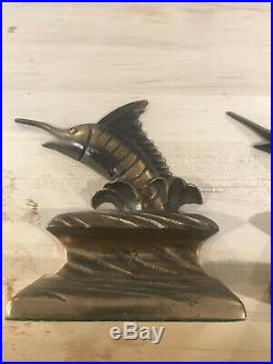 Solid Bronze MARLIN Bookends Designed and made byC. F. STANCLIFF Statue RARE