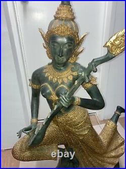 Thai princess musician statue mandolin player made of bronze in green & gold