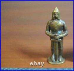 Vintage Beautiful Small Statue Figurine BRONZE KNIGHT 1938 Hand Made Used