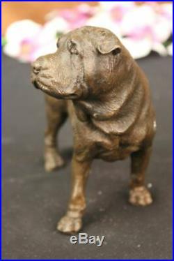 Vintage Bronze Metal Shar Pei Figurine Art Metal Dog Statue Hand Made Figurine