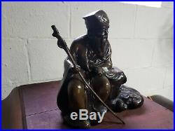 Vintage Bronze Sculpture Asian Man Made In Japan Statue Large Old Art Piece Lot