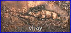 Vintage Hand Made Bronze Hunting Wall Decor Plaque Deers