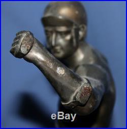 Vintage Hand Made Greek Spear Thrower Bronze Plated Metal Statue