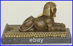 Vintage Large Fabulous Sphinx Bronze Statues Egyptian Pharoah Lion Hand Made Art