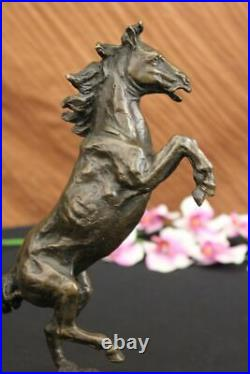 Vintage Made in Spain Metal Rearing Horse and Man Statue 100% Real Bronze Figure