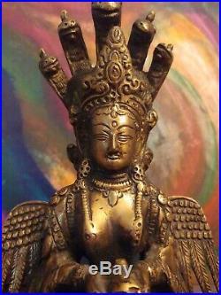 Vintage Naga Kanye Hindu Goddess Bronze Statue 8.5 Made in India