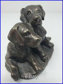 Vtg Bronze Labrador Retriever Puppies Bronze Statue Made in England