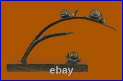Wax Method Few Snails Statue Branch Abstract Modern Art Figurine Hand Made Art