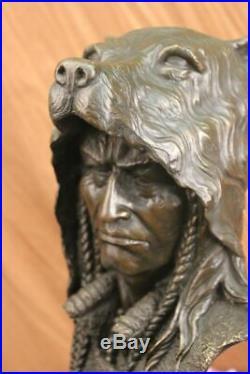 Western Art Native Indian Chief Hot Cast Hand Made Bronze Statue Figurine Figure