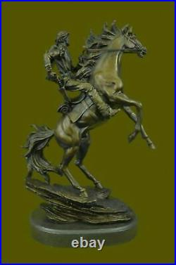 Western bronze statue Hot Cast by Kamiko, cowboy on horse Hand Made Sculpture NR