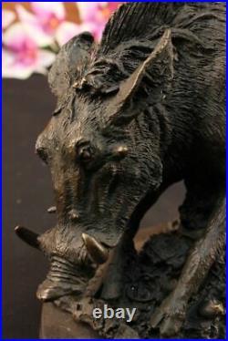 Wild Pig Boar Bronze Animal Sculpture Statue Signed Hand Made Figurine Figure