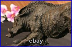 Wild Pig Boar Bronze Animal Sculpture Statue Signed Hand Made Figurine Figure NR